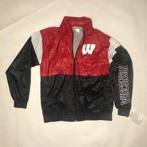 Wisconsin red black white boys windbreaker